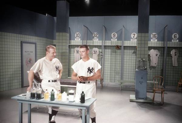 Mickey Mantle Wall Art - Photograph - Mantle And Maris On The Perry Como Show by Donaldson Collection