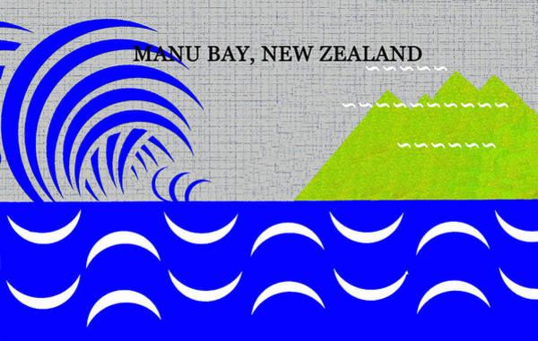 Wall Art - Digital Art - Manu Bay New Zealand Surfing by David Lee Thompson