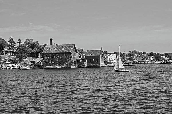 Photograph - Manufactory Building Rockport Ma Gloucester Harbor Sailboat Black And White by Toby McGuire
