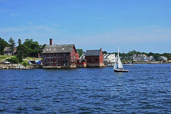 Photograph - Manufactory Building Rockport Ma Gloucester Harbor Sailboat by Toby McGuire
