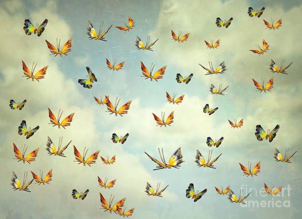 Poetic Photograph - Many Colorful Butterflies Flying Into by Valentina Photos