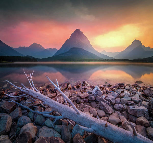 Photograph - Many Glacier Sunset / Swiftcurrent Lake, Glacier National Park  by Nicholas Parker