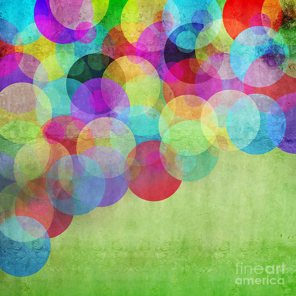 Wall Art - Digital Art - Many Vivid Color Circles On A Green by Valentina Photos