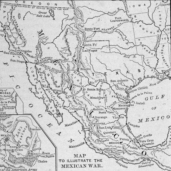 Printmaking Photograph - Map Illustrating Mexican-american War by Kean Collection