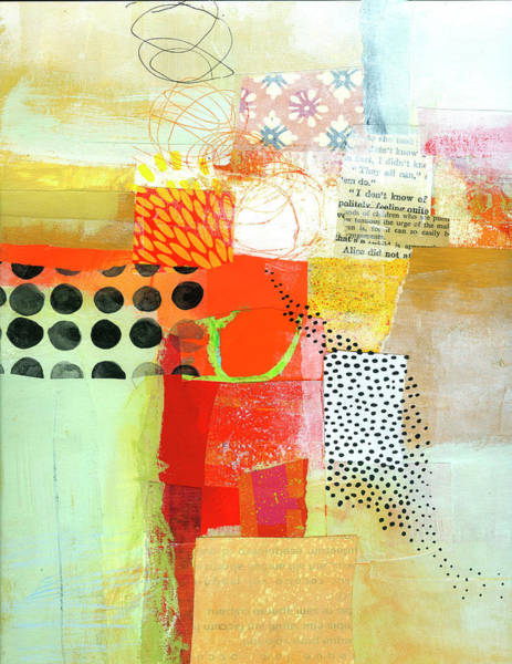 Acrylic Collage Painting - Map In Ochre by Jane Davies