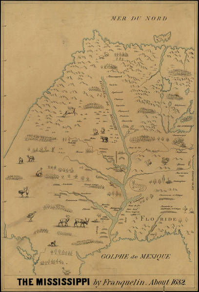 Wall Art - Drawing - Map Mississippi River, C1682 by Granger