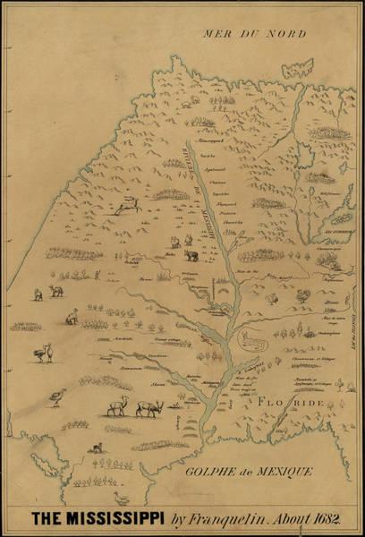 Mississippi River Drawing - Map Mississippi River, C1682 by Granger