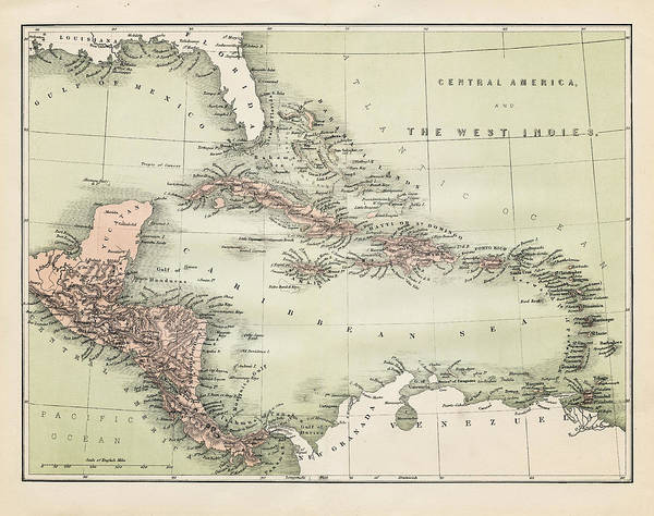 Old Florida Digital Art - Map Od The Caribbean 1860 by Thepalmer