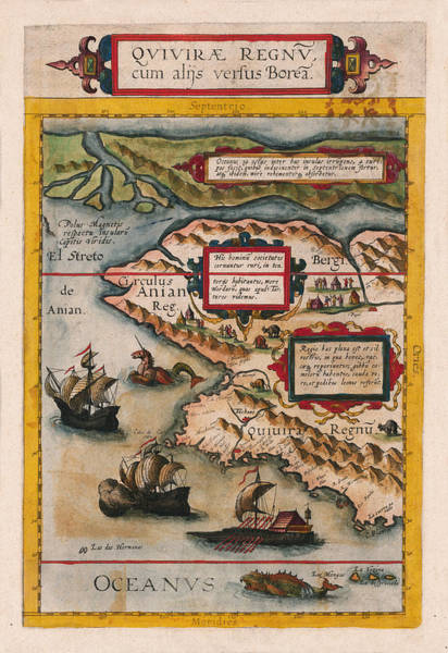 Photograph - Map Of Alaska 1593 by Andrew Fare