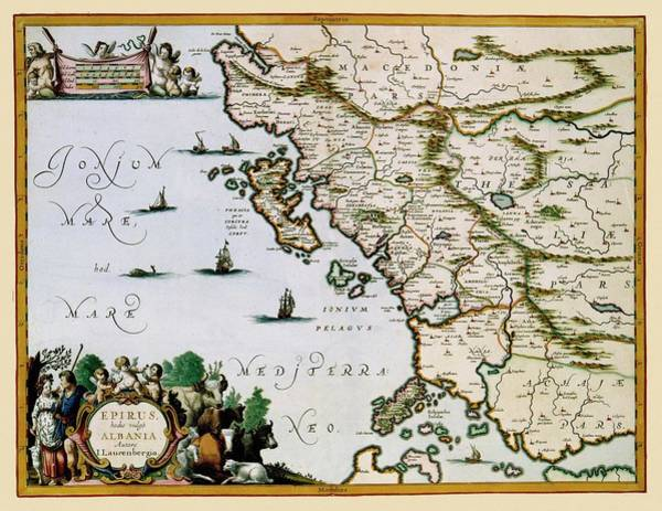 Photograph - Map Of Albania 1654 by Andrew Fare
