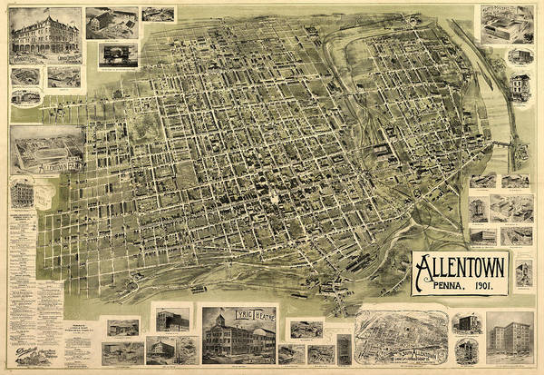 Photograph - Map Of Allentown 1901 by Andrew Fare