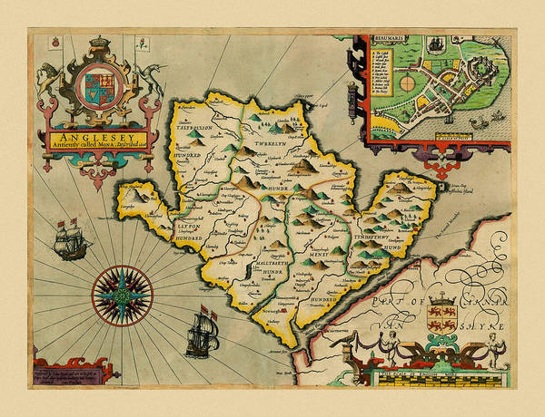 Photograph - Map Of Anglesey 1608 by Andrew Fare