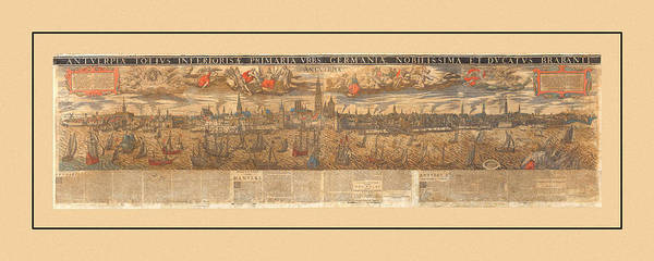 Photograph - Map Of Antwerp 1652 by Andrew Fare