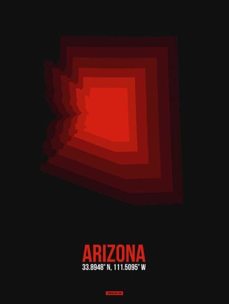 Wall Art - Digital Art - Map Of Arizona Red by Naxart Studio