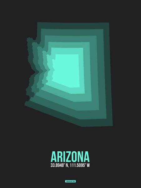 Wall Art - Digital Art - Map Of Arizona, Teal by Naxart Studio