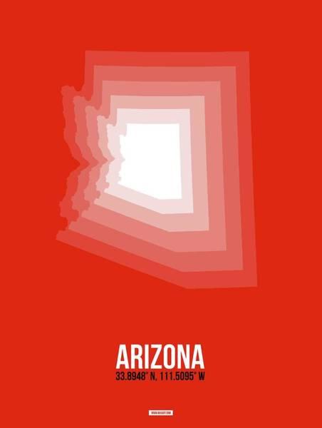 Wall Art - Digital Art - Map Of Arizona, White by Naxart Studio