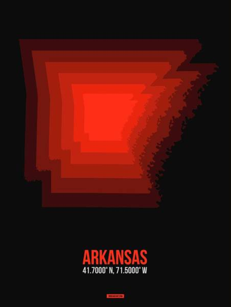 Wall Art - Digital Art - Map Of Arkansas Red by Naxart Studio