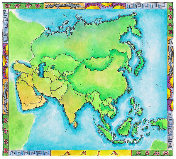 Boundary Digital Art - Map Of Asia by Jennifer Thermes