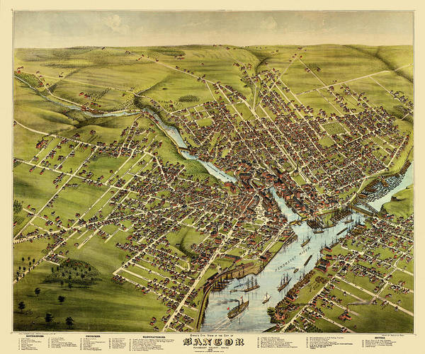 Photograph - Map Of Bangor 1875 by Andrew Fare