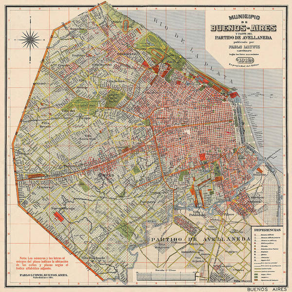 Photograph - Map Of Buenos Aires 1912 by Andrew Fare