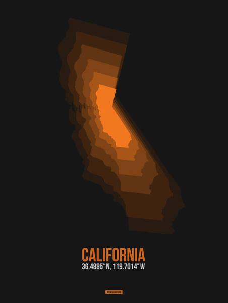 Eames Wall Art - Digital Art - Map Of California Orange by Naxart Studio