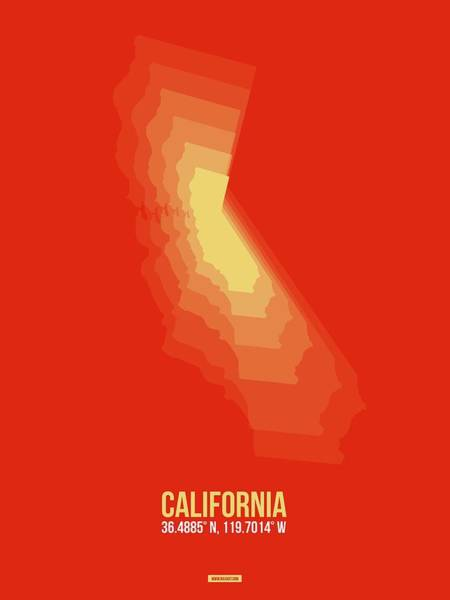 Wall Art - Digital Art - Map Of California Yellow by Naxart Studio