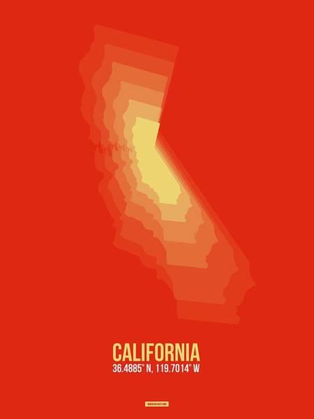Eames Wall Art - Digital Art - Map Of California Yellow by Naxart Studio