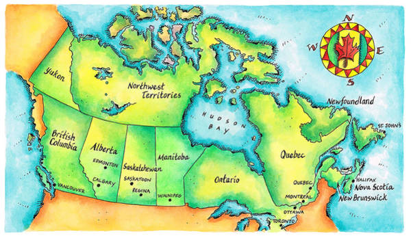 Boundary Digital Art - Map Of Canada by Jennifer Thermes