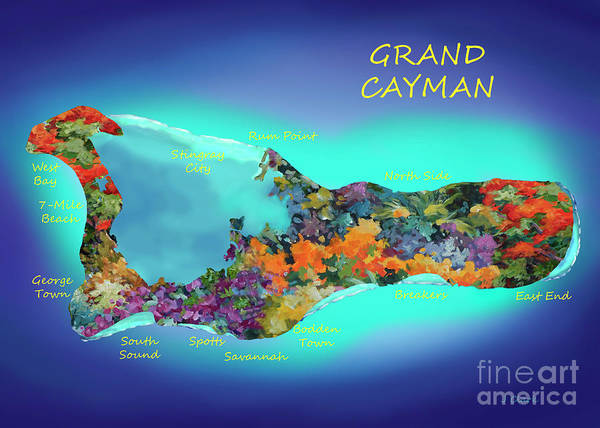 Wall Art - Digital Art - Map Of Cayman 5x7 Ratio by John Clark
