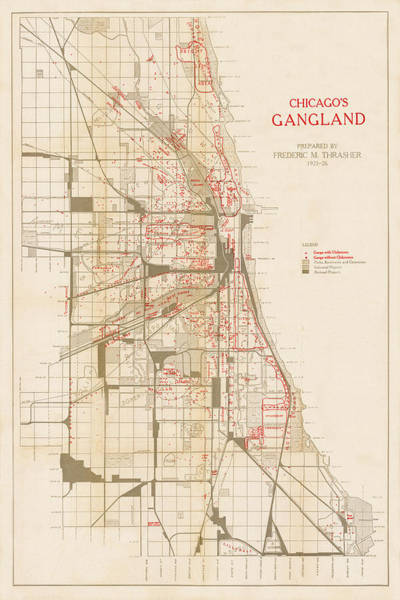 Photograph - Map Of Chicago Gangs 1926 by Andrew Fare