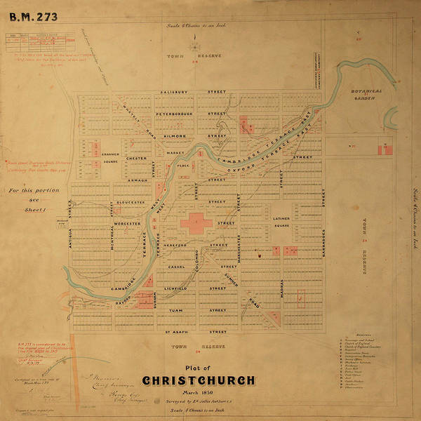 Photograph - Map Of Christchurch 1850 by Andrew Fare