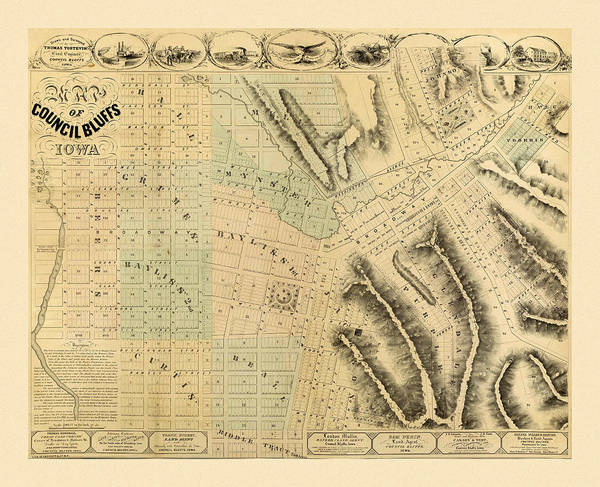 Photograph - Map Of Council Bluffs 1858 by Andrew Fare