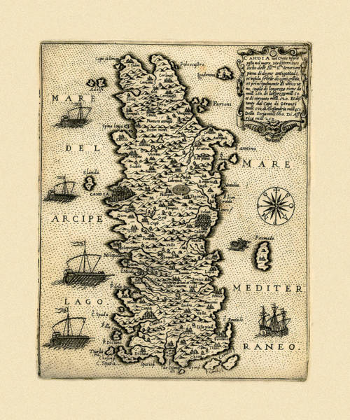 Photograph - Map Of Crete 1574 by Andrew Fare