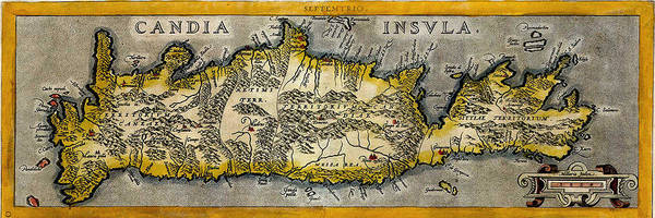 Photograph - Map Of Crete 1584 by Andrew Fare