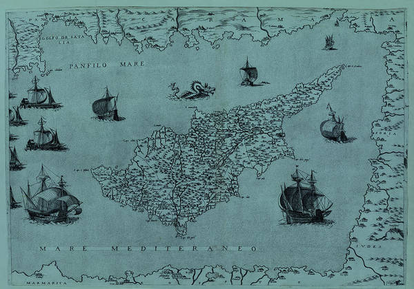 Photograph - Map Of Cyprus 1569 by Andrew Fare