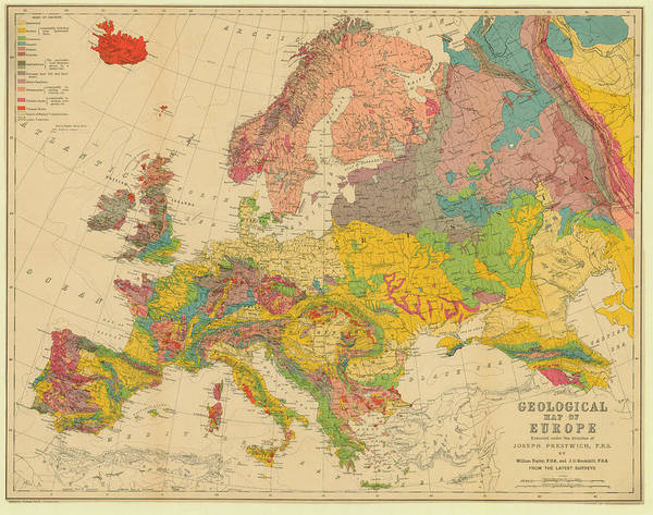 Europe Map Digital Art - Map Of Europe 1860c Geological Map by Historic Map Works Llc