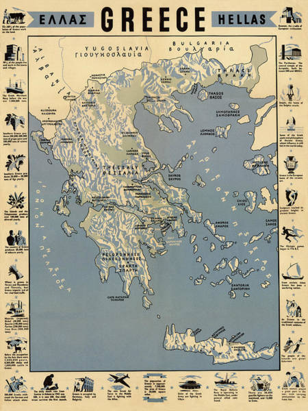 Photograph - Map Of Greece 1942 by Andrew Fare