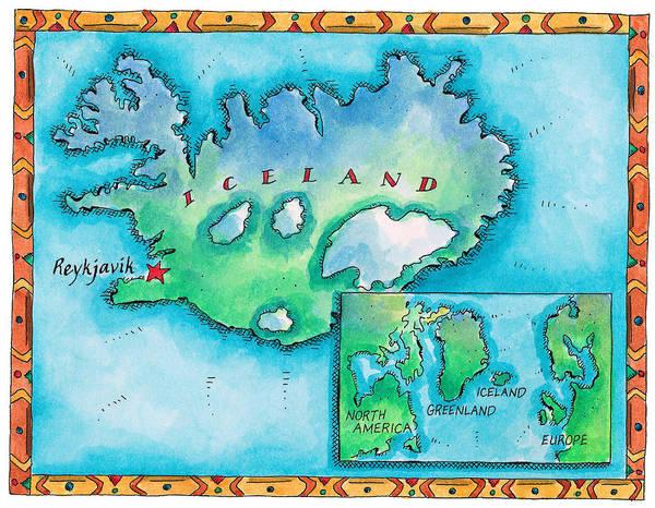 Iceland Digital Art - Map Of Iceland by Jennifer Thermes