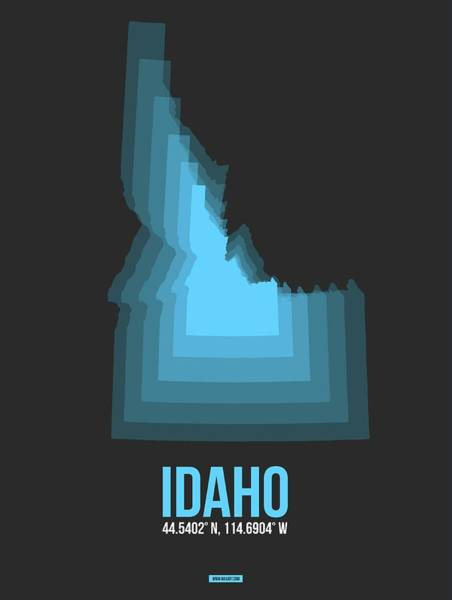 Wall Art - Digital Art - Map Of Idaho Blue by Naxart Studio