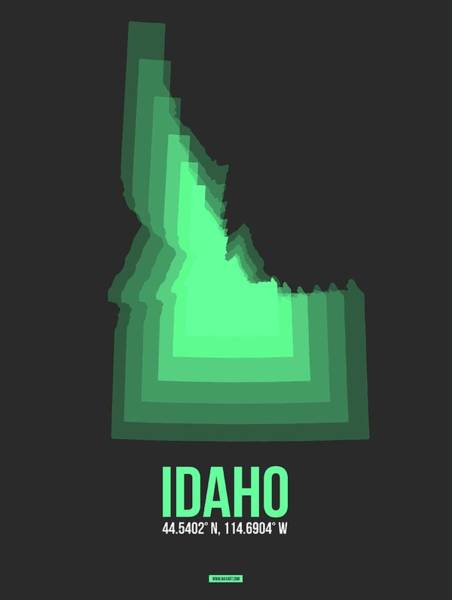 Wall Art - Digital Art - Map Of Idaho Green by Naxart Studio
