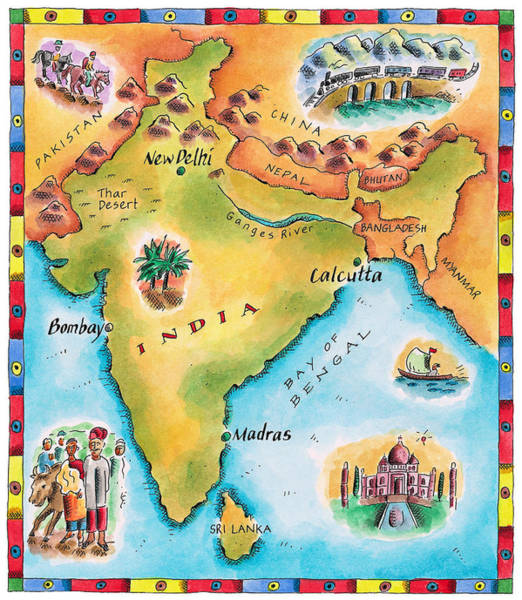 India Ink Wall Art - Digital Art - Map Of India by Jennifer Thermes