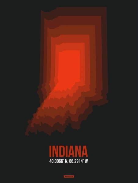 Wall Art - Digital Art - Map Of Indiana 1 by Naxart Studio