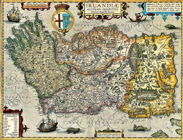 Painting - Map Of Ireland By Boazio by Val Byrne