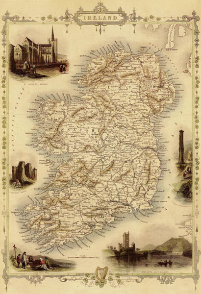 Journey Digital Art - Map Of Ireland From 1851 by Nicoolay