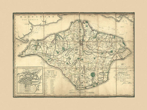 Photograph - Map Of Isle Of Wight 1802 by Andrew Fare
