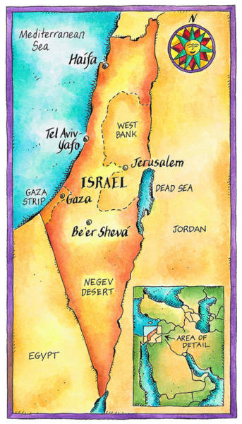Boundary Digital Art - Map Of Israel by Jennifer Thermes