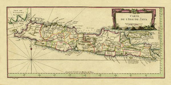 Photograph - Map Of Java 1764 by Andrew Fare