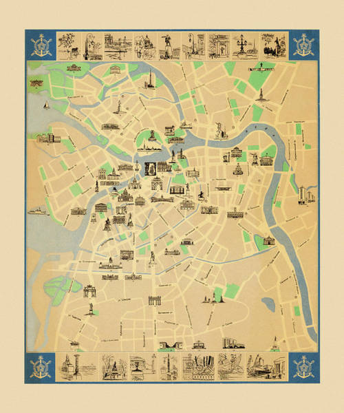Photograph - Map Of Leningrad by Andrew Fare