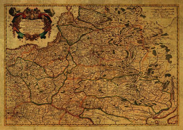 Map Of Lithuania 1679 Art Print