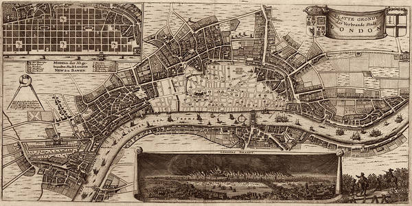 Photograph - Map Of London 1667 by Andrew Fare